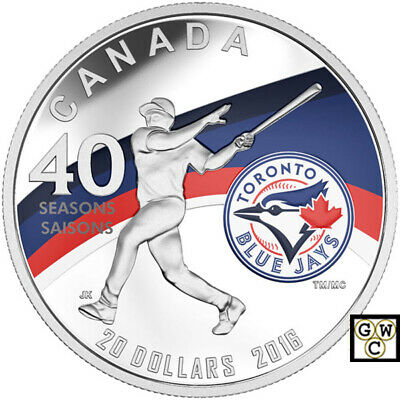 2016 $20 Fine Silver Coin Celeb. 40Th Season Of The Toronto Blue Jays(17660)Ooak