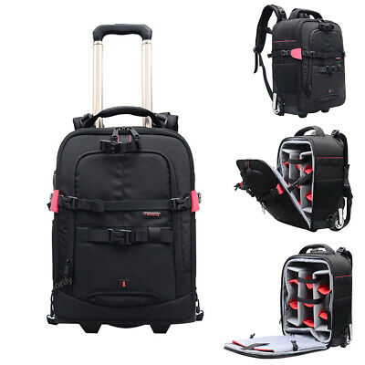 DSLR Trolley Case Backpack Professional Camera Bag Draw-Bar Box for Canon Nikon