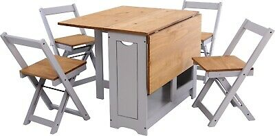 Grey Farmhouse Dining Set - Table & 4 Chairs Folding Space Saving Extending Wood