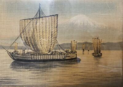 Antique Asian Chinese Painting Ship Boat Mountain Framed Vintage Unsigned fabric