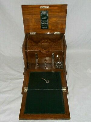Antique Victorian Solid Oak Stationery Writing Slope Box Desk Table Top Cabinet