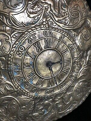 Vintage Brass Clock Unique Hammered Design Battery Wall Clock Ethnic Indian!