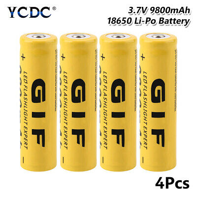 GIF 18650 Battery Rechargeable 3.7V 9800mAh Cell For Flashlight Torch 4Pcs 77E3