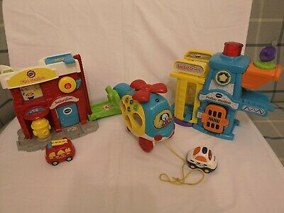Vtech toy bundle police station fire station sort and spin helicopter