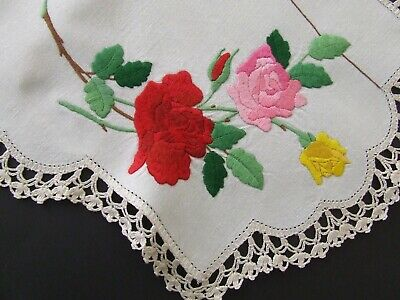 Superbly Hand Embroidered Table Centre - Gorgeous Roses - Crocheted Edging