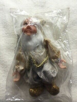 """Katherine's Collection Christmas Elf Gnome Gold  7"""" Retired Brand New 18-82226"""