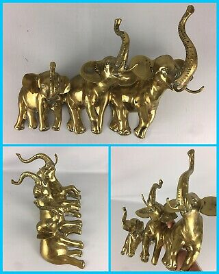 """Vintage 19"""" Large 3 ELEPHANTS Family Brass Metal Wall Hanging Statue Art"""