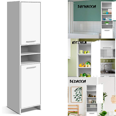 NEW Tall Slim Cabinet Storage Cupboard Shelf Tallboy Bathroom Laundry Kitchen