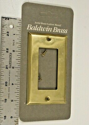 Nos Baldwin Brass Single Rocker Dimmer Switch Plate W/Screws 475-030-Cd