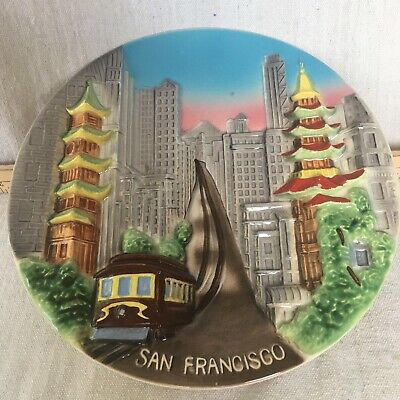 Vintage Wall Plate Hanging San Francisco Trolley China Town City Souvenir Japan