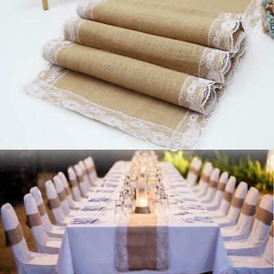 Natural Lace Table Burlap Table Runners Christmas Wedding Party Table EN24H