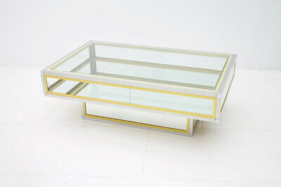 French Vitrine Coffee Table in Glass, Brass and Chrome 1970s