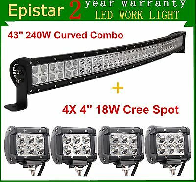 42inch Curved 240W LED Light Bar Combo Offroad Ford Boat Ford ATV+4x4'' 18W Pods