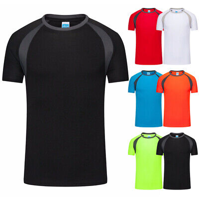 Men's Breathable T-Shirt Wicking Shirt Tops Running Gym Sports Fitness Quick Dry