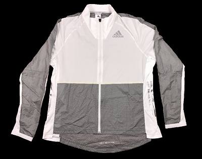 ADIDAS ADIZERO Track Mens Full Zip Running Jacket - Grey/White - Size 2XL