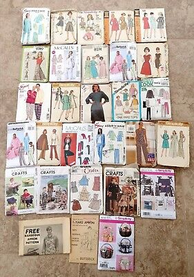 Lot 29 Sewing Patterns Clothes & Crafts 1960's & Up SIMPLICITY McCALLS BUTTERICK