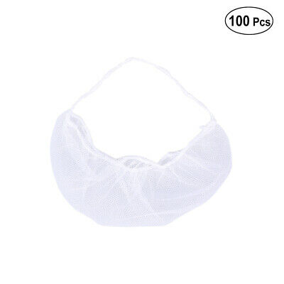 100x Disposable Beard Snood Cover Catering Food Mask Hygiene Non Slip Beard Net