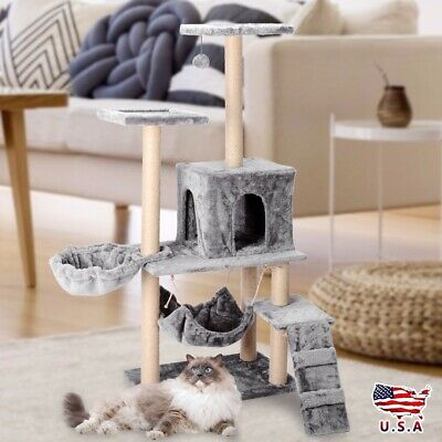 Grey Cat Tree Condo House Pet Kitten Tower Scratcher Post Furniture Play Toy