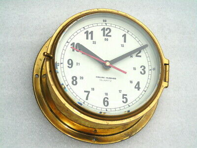 All Brass Large Kelvin Hughes England Ships Boat Yacht Marine Quartz Clock Watch