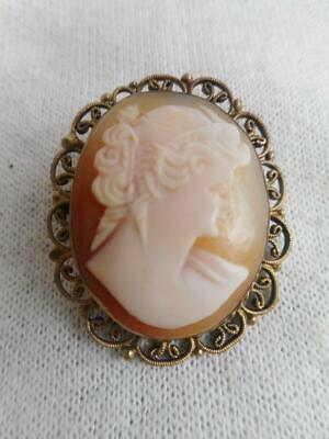 Antique Italian carved shell cameo & filigree frame pin w/ c catch