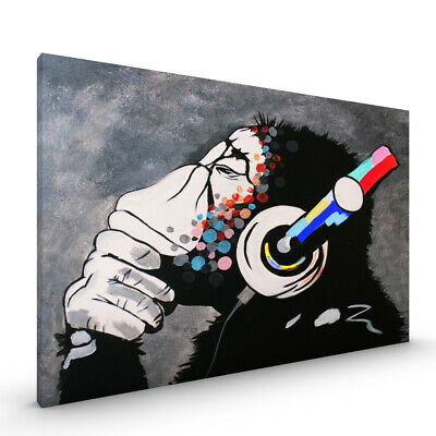 DJ Monkey Banksy CANVAS Framed Premium Glossy with Metal Hanger Various Sizes