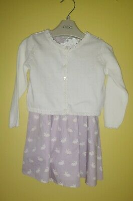 Next Baby Girls Bunny Rabbit Dress And Cardigan 12-18 Months Brand New With Tags