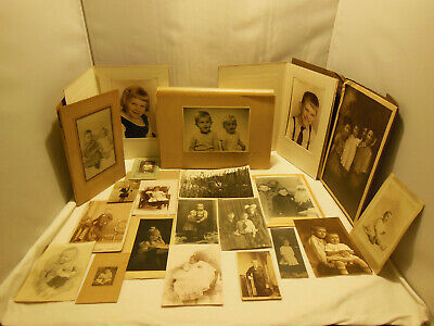 Lot Of 21 Assorted Antique & Vintage Photos & Cabinet Cards Of Children