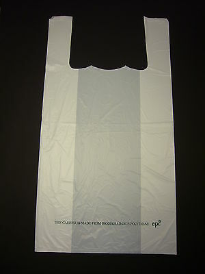 "Large White 100% BioDegradable ' ECO' Carrier Bag 12"" x 18"" Pack 100"