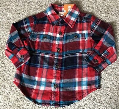 NEW Gymboree 12-18 Months Boy Plaid Flannel Shirt Long sleeve Red Blue White