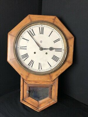 Antique Waterbury Octagonal Wall Mount Clock For Parts or Restoration