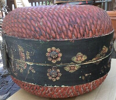 Antique Chinese woven willow wedding basket