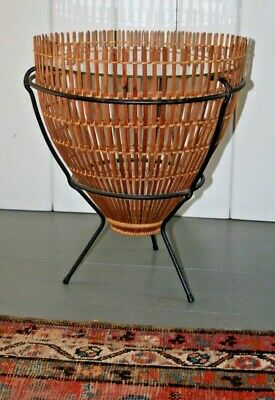 Mid Century Modern Rattan Fish Trap Iron Glass Side End Table Franco Albini