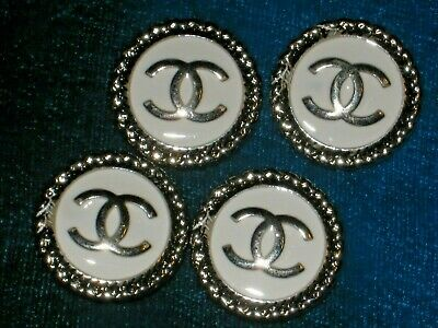 CHANEL BUTTONS lot of 4 white 14 mm over 1/2 inch metal with silver cc logo