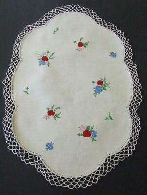 Unused Hand Embroidered Vintage Centre - Tiny Floral Posies - Crocheted Edging