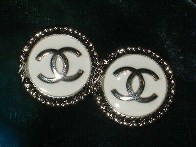 CHANEL BUTTONS lot of 2 white 18 mm , 3/4 inch metal with silver cc logo