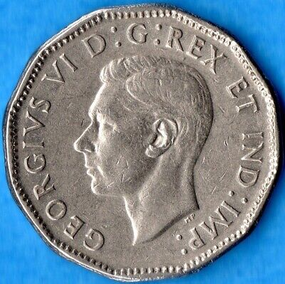 Canada 1947 Dot 5 Cents Five Cent Nickel Coin - VF/EF