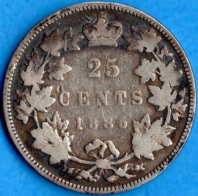 Canada 1885 25 Cents Twenty Five Cent Silver Coin - Good