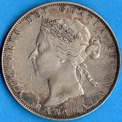 Canada 1881 H 50 Cents Fifty Cents Silver Coin - Nice VF