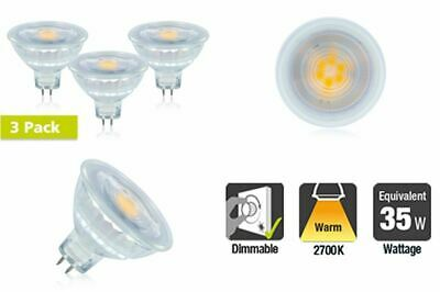 3 PACK LED MR16 Glass GU5.3 4.8W 2700K 390lm Non-Dimmable Lamp 35W