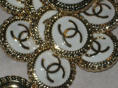 CHANEL BUTTONS lot of 6 white 18 mm , 3/4 inch metal with GOLD cc logo