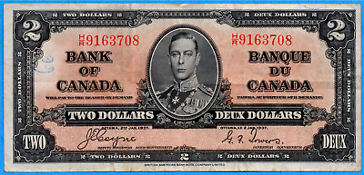 $2 1937 Bank of Canada Note Coyne-Towers H/R Prefix BC-22c - VF (writing)