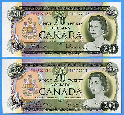 Two Consecutive $20 1969 Bank of Canada Notes EH Prefix - AU/UNC