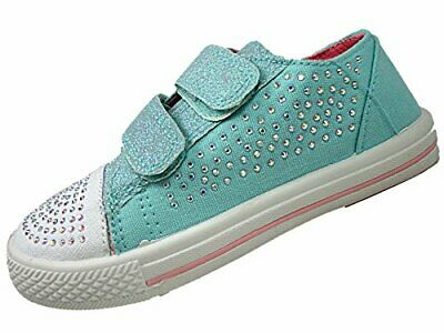 Girls Canvas Glitter Pump Chatterbox Trainers Summer Shoes touch close strap SZ