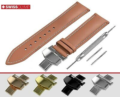 Fits EMPORIO ARMANI Flat Light Brown Genuine Leather Watch Strap Band For Clasp