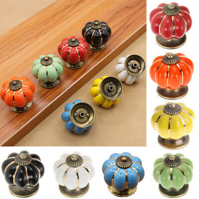 Pumpkin Pull Handle Knobs Cabinet Dress Drawer Door Cupboard Porcelain Ceramic d