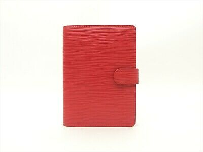 Louis Vuitton Authentic Epi Leather Red Agenda fonctionnel PM Diary cover Auth