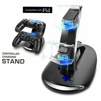 PlayStation PS4 Controller LED Charger Dual USB Fast Charge Dock Station + Cable