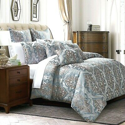 3 Piece Quilted Bedspread King Size Ikat Comforter Bed Throw With Pillow Shams