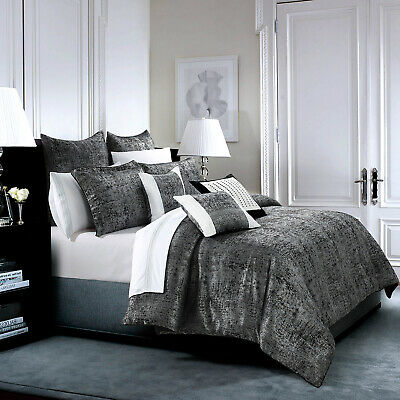 Luxury 3 Piece Bedspread Grace Black Comforter Set King Size Quilted Bed Throw