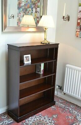 Antique Victorian Style Mahogany Open Adjustable Bookcase Bookshelf Shelves